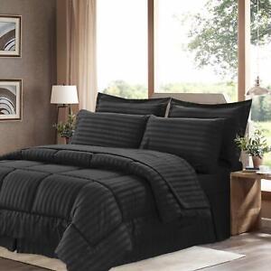 1Piece Black Comforter Cotton 800TC US Size Microfiber Fill Heavy Weight Stripe