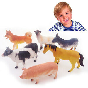 NEW Pack Of 6 Farm Animals Play Set Toy Figures Plastic For Children Toys Farm
