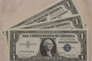 BU Series 1957 A  CONSECUTIVE $1 Silver Certificate Note Lot of 4.