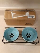 Y YHY Cat Bowls Elevated, Cat Food Water Bowl (Blue)