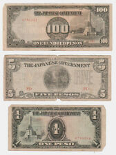 WWII Occupied Philippines Bank Note Lot - 100, 5, & 1 Pesos, 50 & 10 Centavos