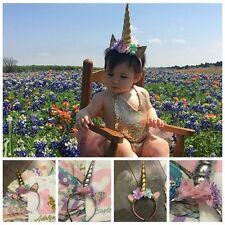 Chiffon Flower Head Bands Baby Tiara Girls Headwear Kids Headband Unicorn Horn