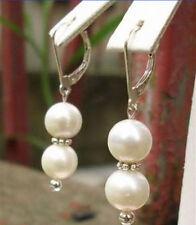 10mm Genuine White Shell Pearl Silver Dragon Hook Earrings