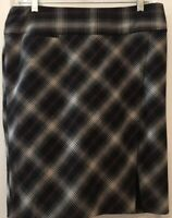 Express Design Studio Womens Size 8 Black Plaid Pencil Skirt White Red Slit