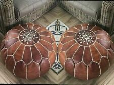 2 x NEW 100% Leather Stunning Moroccan Ottoman or Pouf or Pouffe