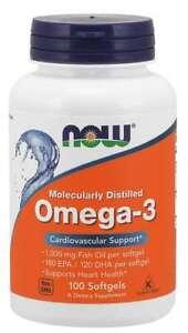 NOW Foods Omega 3 180EPA/120DHA 100 Softgels 1000mg Fish Oil 05/22EXP