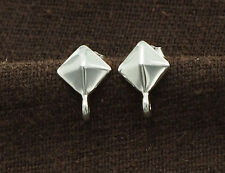 925 Sterling Silver 1 Pair of Pyramid Stud Earrings Post Findings 6 mm.