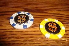 #2 Two Different $ DOLLAR Sign-Symbol Poker Chip Golf Ball Marker-Card Guard  y