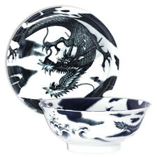 "Japanese Rice Ramen Noodle Soup Bowl 8.25""D Porcelain Black Dragon Made in Japan"