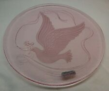 L E Smith Pink Charger Platter Plate Etched Peace Dove With Rose RARE 12 3/4""