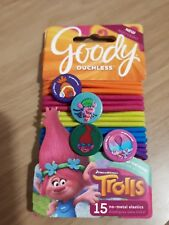 Trolls, Goody Ouchless No Metal Elastics, 15 Pack - Multi Colour
