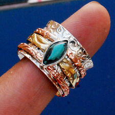 Turquoise Meditation Spinner 925 Sterling Silver Fidget Ring Statement Jewelry