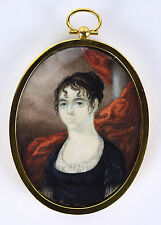 Antique Miniature Watercolor Painting Portrait Haunting Woman in Black