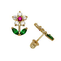 Multi-Color Birthstone Flower Stud Earrings Screw Back 14K Yellow Gold