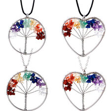 Healing Tree Of Life Pendant Necklace Crystal Natural Stone Necklace MW