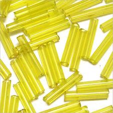 Perles de Rocailles Tubes en verre Transparent 9x2mm Jaune 20g
