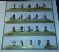 4 plaques verre lanterne magique fin XIXème - Alphabétique A-T - pays - Pierrot