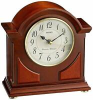 Seiko QXJ012BLH Mantel Chime Clock Brown Wooden Case