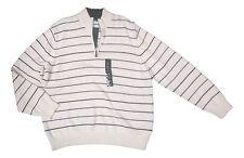 Geoffrey Beene Men's Size XLarge White Black Stripe Pull Over 1/2 Zip Sweater