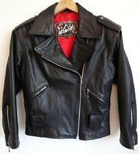 Vtg 80s 90s Winlit Women's Black Leather Motorcycle Riding Punk Rock Jacket M