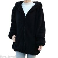 Winter Warm Women Loose Bear Rabbit Ears Hoodie Hooded Jacket Outerwear Coat B_S