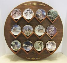 Hamilton Collection Year of the Wolf 12 Mini Plates on Round Wooden Display