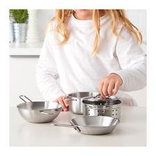 IKEA DUKTIG  5 Piece Children Kids Cookware Cooking Set Stainless Steel