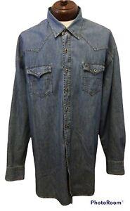 STETSON Western Denim 3XL Fancy Pearl Snaps l/s Shirt *mint condition*