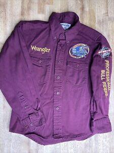 Wrangler 2004 Built Ford Tough PBR World Finals Rodeo Burgundy Boys Shirt 7/8