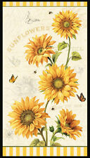 Follow The Sun Sunflowers cotton quilt fabric by Wilmington Sunflower Panel