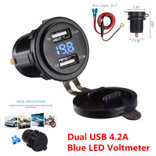 4.2A Dual USB Charger Socket with Voltmeter & Wire Waterproof for Car Motorcycle