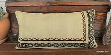 (30*60CM) Boho Style Vintage Handwoven kilim lumbar cover undyed cream wool