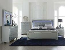 TYLER - Modern 5pcs Grey Queen King LED Lighted Headboard Bedroom Set Furniture