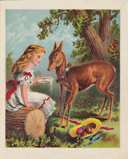 FAWN DEER WITH FLORAL WREATH AND LITTLE GIRL ANTIQUE LITHOGRAPH ART PRINT 1877