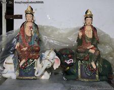 Chinese Painted Copper Wenshu Manjushri Samantabhadra Goddess Buddha Statue Pair