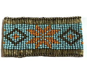 "Beaded Stretch Bracelet Ethnic Native Seed beads Turquoise Orange Copper 2""x8"""
