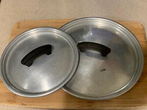 RARE Vintage Lot 2 Wear-Ever Aluminum Pot Pan Lid Plastic Handle Aluminum