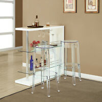 Transparent Modern Crystal Backless Bar Stool in Clear - Set of 2
