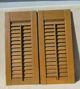 "2 vintage wood shutters panels indoor 20"" x 9"" no hardware upcycle repurpose"