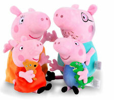 Set of 4 Daddy Mummy & George Peppa Pig Family Set Stuffed Toy Soft Plush Doll