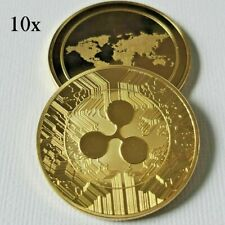 10x  24k Gold Plated New Ripple XRP Crypto currency  collectable Novelty Coin