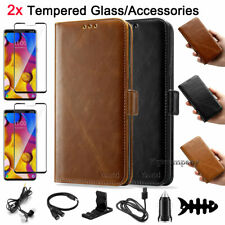 For Lg V40 ThinQ Leather Card Wallet Phone Case Protective Cover Pouch Stand