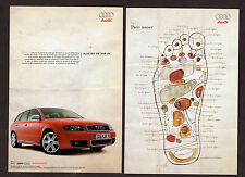 2004 AUDI S4 V8 344 hp Original Print AD - red car photo with foot art 2 pages