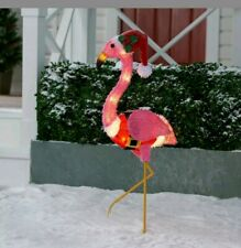 Holiday Time Light-Up Fluffy Flamingo Outdoor Christmas Decor, 35 in
