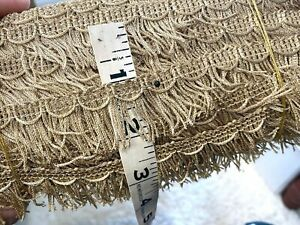 "Vintage Metallic 1 1/8"" Fringe 1940s Matte Gold Scallop 1yd Made in France"