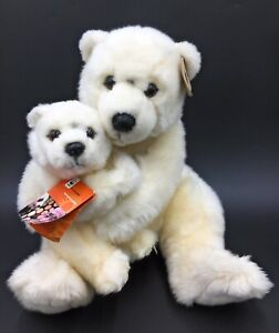 """WWF Polar Bear With Baby Plush Collection Soft Toy 15"""" High Comforter With Tag"""