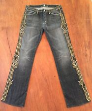7 For All Mankind Woman's Vintage Size 31 Blue Denim Studded Jeans