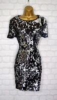 ~MIYA~ Black & Silver Tone Sequin Bodycon Evening Mini Party Dress 6 8 10 12 14