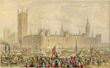 LONDON PARLIAMENT OPENING & ORIGINAL 1850's HAND-COLORED LITHOGRAPH BY LE BLOND