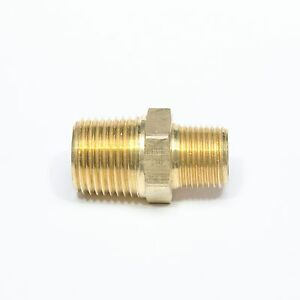 Hex Nipple Reducer 1/2 to 3/8 Male Npt Brass Fitting Air Water Fuel Oil Gas